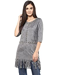 Remanika Grey color Knitted Polyester Top for womens