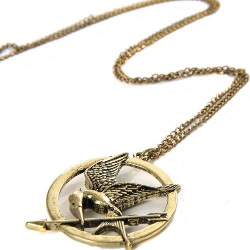 m Spotttölpelbrosche Katniss Everdeen Pin Bogen Kette Umhängekette Umhänger Bronze (Hunger Games Katniss Kostüme)