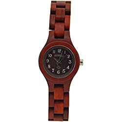 HYSENM Classic Women Japanese Imported Movement Daily Waterproof 100% Wooden Made Wristwatch, Blood Scandalwood