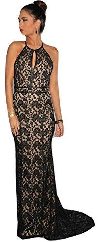 Neue Damen Schwarz & Nude Floral Spitzen langes Abendkleid Ball Cocktail Cruise Party Kleid Größe UK 12EU 40 (Schwarz Spitze Mermaid Prom Kleid)