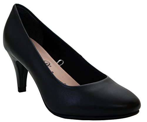 Comfort Plus ,  Mädchen Damen Pumps Black Leather