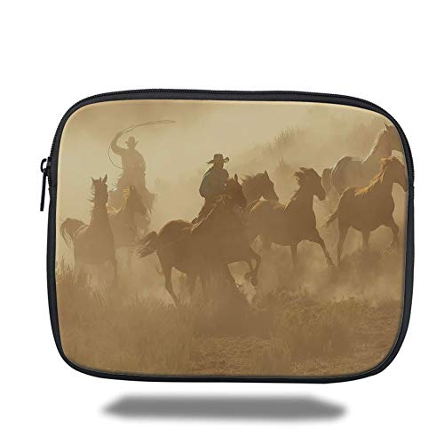 Tablet Bag for Ipad air 2/3/4/mini 9.7 inch,Western,Galloping Running Horses in Desert Two Cowboys Roping Dusty Wild Rural Countryside Decorative,Light Brown,Bag - Zwei Pocket Case Top-loading