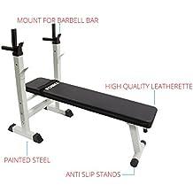 POWRX - Banco de pesas profesional (altura ajustable para pesas, hasta 200 kg,