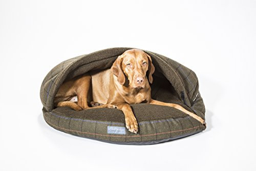 """Collared Creatures Dog Cave Bed, Dog Bed, Large 889mm (35"""") Green Tweed 2"""