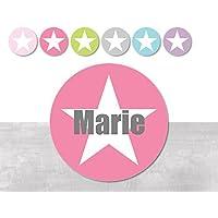 Namensaufkleber • Stern Mädchen • 24/120/240 Stück (N87) kunterbunte Aufkleber vom Papierbuedchen