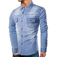 Herren CardiganShirt,TWBB Denim Printing Sweatshirt Mit Pocket Slim Oberteile Pullover Casual Lange Ärmel Shirt Tops