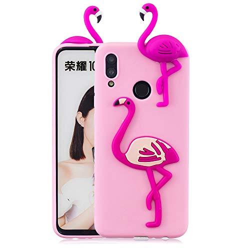 Karikatur Hülle für Huawei Honor 10 Lite/Huawei P Smart 2019, Tier Flamingo Muster Weich Silikon Zurück Handyhülle,Ultra Dünn Flexibel TPU Stoßstange Stoßfest Schutzhülle ()