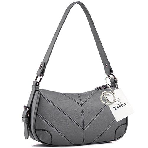 Yoome Women's Große Kapazität Multilayer Funktionelle Schultertasche Crossbody Tasche Clutch Mit Reißverschluss - Schwarz Grau