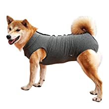 Dog Recovery Suit Cat Abdominal Wound Protector Puppy Medical Surgical Clothes Post-operative Vest Pet After Surgery Wear Substitute E-collar & Cone (XXXL, grey)