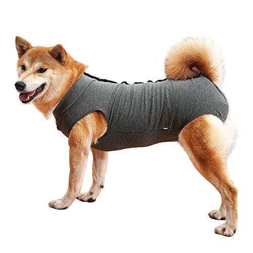 Dotoner Krankenhausanzug für Hunde und Katzen, Wundschutz für Welpen, medizinische Kleidung, nach Operationen, Ersatzkragen und Kegel (XL, grau)