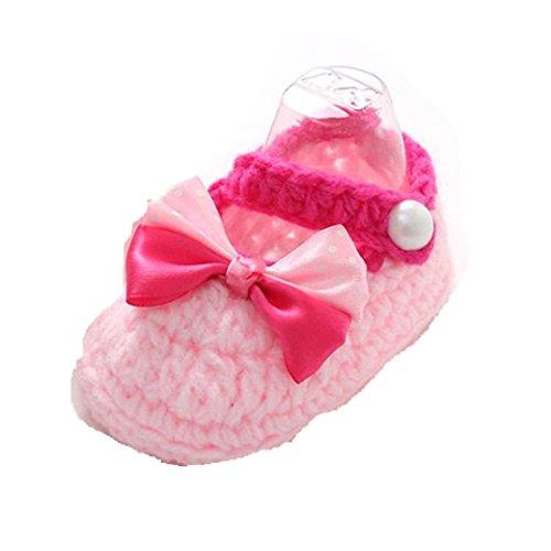 Babyschuhe Longra Baby Mädchen Häkeln Handarbeit Stricken Schuhe Krabbelschuhe Lauflernschuhe (3-12 Monate) (10cm 0-12 Monate, Pink) (Kleid Sandalen Baby-mädchen)