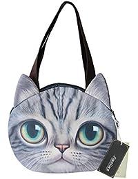 Greenery Women Girls Vivid Cute 3D Cat Head Face Handbag Leisure Shoulder Bag Lightweight Travel Bag By Fakeface