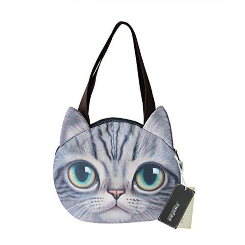 Liying Neu Umhängetasche Handtasche Taschen Damen Schultasche Schulrucksack Beutel Katze mit angenähten Ohren Grau 1