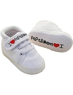[Gesponsert]EROSPA® Babyschuhe I Love Mama & Papa Lauflernschuhe Unisex Mädchen Jungen Sneaker Schühchen Weiche Sohle 12 cm