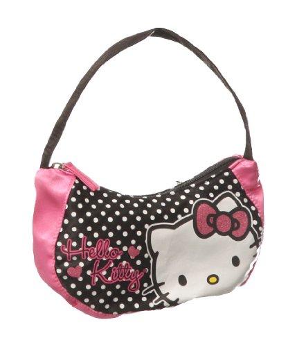 Black & Pink Hello Kitty Polka Dot ''True Love'' Mini Hobo Bag