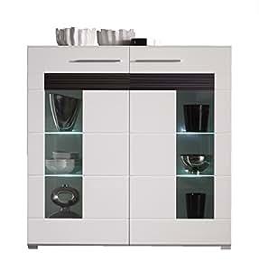 trendteam mz86512 highboard wohnzimmerschrank weiss hochglanz absetzungen eiche melinga dunkel. Black Bedroom Furniture Sets. Home Design Ideas
