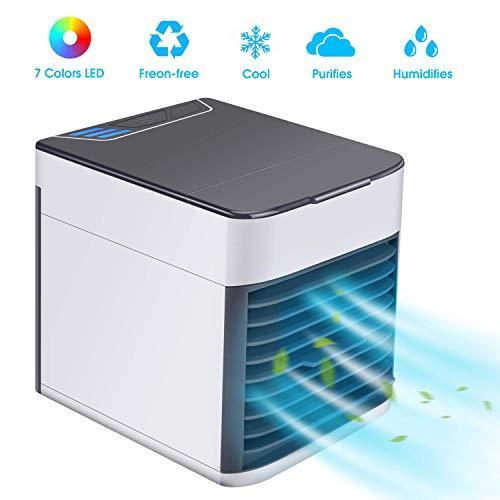 Mini Luftkühler, 3 in 1 Mobile Klimageräte, Klimaanlage Luftkühler Air Cooler, Luftbefeuchter und Luftreiniger, Super Wind Speed Tragbare Klimaanlage Luftkühler für Büro, Hotel, Küche