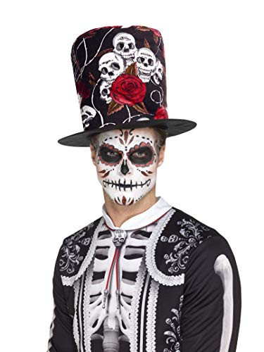 Tote Fee Kostüm - Smiffys SMIFFY 'S 48035Tag der Toten Totenkopf und Rose Top Hat, Mehrfarbig, one Size