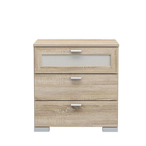 NEWFACE  Nachtkommode Nachttisch mit 2 Schubkästen und 1 Glasschubkasten, Holzwerkstoff, Sonoma Eiche Dekor, 50,4 x 41,2 x 52,7 cm