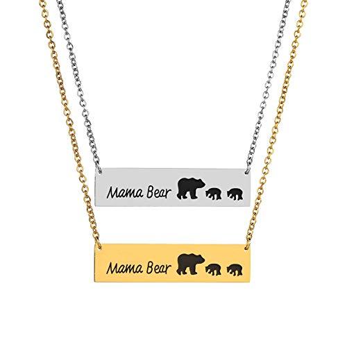 go Muster Anhänger, Charm Eltern-Kind-Halskette Damen Schmuck Geburtstagsgeschenk 2 Bär Baby und Mutter 316 Titan Stahlkette,Gold ()
