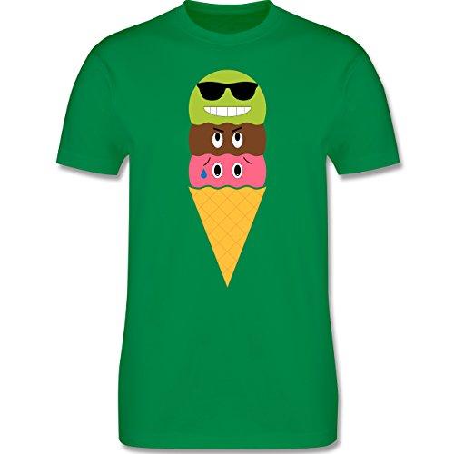 Lustige Sprüche und Motive - Eiswaffel mit Smileys - L190 - Premium Männer Herren T-Shirt mit Rundhalsausschnitt Grün