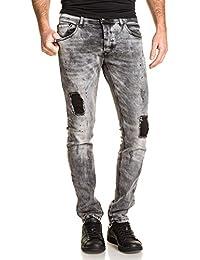 Gov Denim - Jeans slim gris homme délavé troué avec pièces