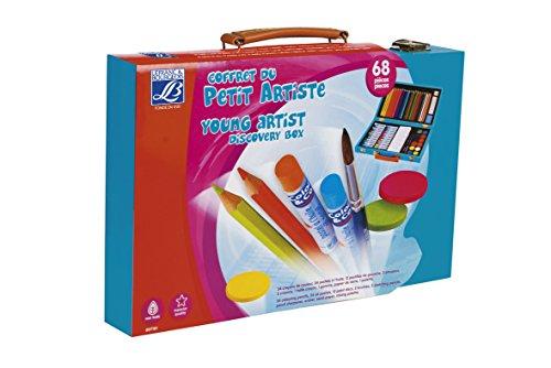 Lefranc & Bourgeois - Caja Madera Artista con 24 lápices y Pasteles al óleo, 12 Pastillas de Gouache, Accesorios