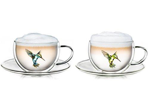 Tasse isotherme Hummi à double paroi Creano, pour thé/Latte Macchiato, tasse Colibri avec soucoupe, dans un ensemble de 2, 250ml, dans les couleurs bleu, vert