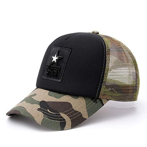 BKILF Baseball Cap AtmungsaktivesBrief Camouflage Mesh Cap Street Baseball Cap für Herren & Damen Fashion Sommer Cap, grün