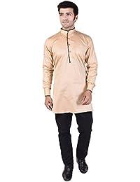 Veera Paridhaan Men's Solid Beige Cotton Kurta