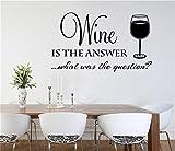 wandaufkleber groß Wein ist die Antwort Was war die Frage für die Kitchen Dining Room Bar