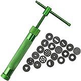 Flypv Extrusora Verde Herramientas para Hornear DIY Decoración Apretón de Acero Inoxidable Pistola de Barro 21 Moldes de Pastel Fondant