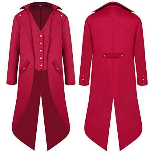 ERFD&GRF Mittelalter Kostüm Renaissance Robe Dress Up Phantasie Kirche Männer Mantel Halloween Smoking, Red Robe, - Renaissance Männliche Kostüm