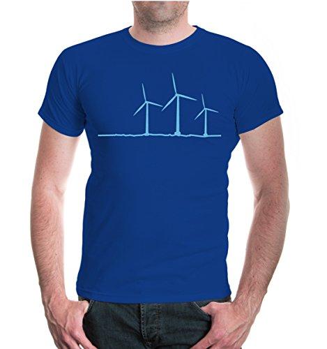 isex Kurzarm T-Shirt Windräder | erneuerbare Energien Stromerzeugung | XXL royal-skyblue Blau (Blaue Windräder)