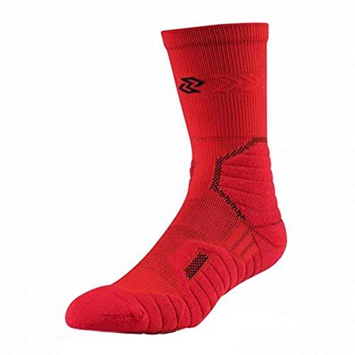C&YL Cushion Athletic Crew Basketball Sport Elite Socken für Damen und Herren Gr. M, rot - Rot Mitte Der Ferse