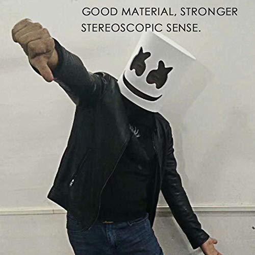 waysad Marshmello DJ Latex Helm Marshmallow Cosplay DJ Marshmello Cos Kopfbedeckung für eine lustige, Halloween, Weihnachten, Ostern, Karneval, Kostümparty Cosy