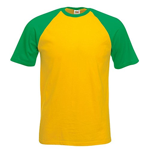 Fruit of the Loom - Kontrast T-Shirt 'Baseball T' Farbe Sunflower/Kelly Green Größe Medium (T-shirts Farbige)