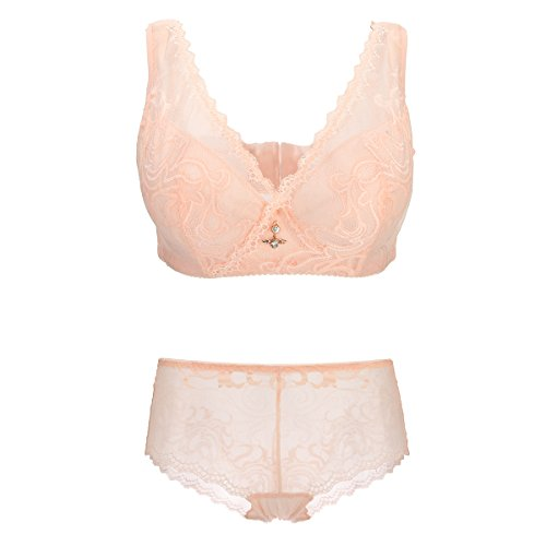 Bonjanvye Thin Cotton Padded Underwire Bra with See Through Panty Lingerie Set Nude