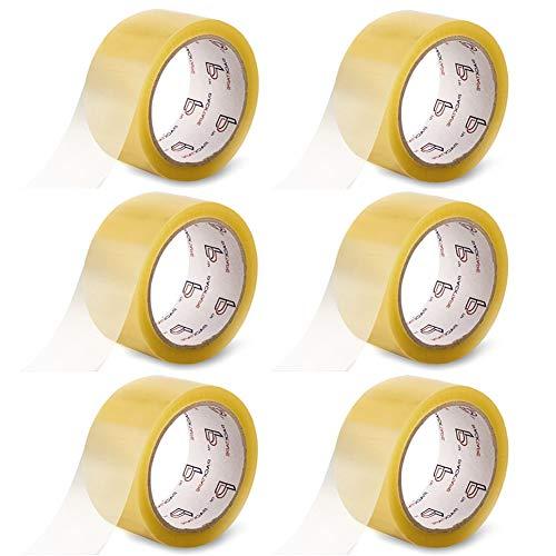 PACKTAPE® Klebeband Packband Paketband Paketklebeband Klebebänder Verpackungsband Transparent 6 Rolle 48mm x 66m Langlebig und Klebrig, Kein Schlechter Geruch