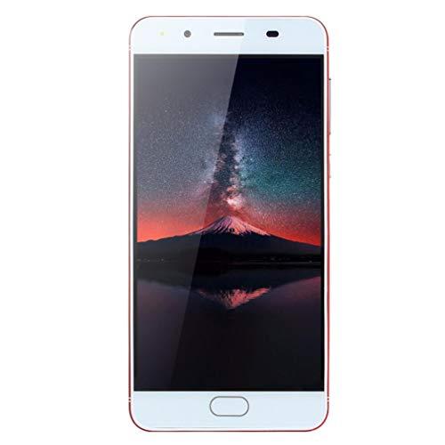 samLIKE Günstig Smartphone Ultradünn Handy ohne Vertrag 5,0 Zoll Ultra-HD-Bildschirm WiFi Android Handy Quad-Core 512MB + 512MB GSM, mit Dual-Kamera + Dual-SIM (Rot)