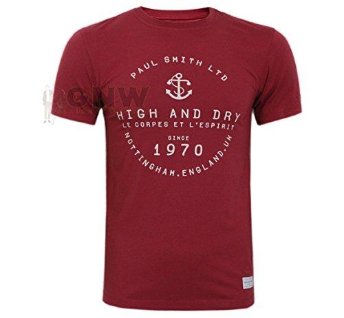 Paul Smith Herren T-Shirt, T-Shirt hoch & Trocken S, M,L,XL,XXL enge Passform - Weinrot, L (Lager T-shirt Kurzarm)