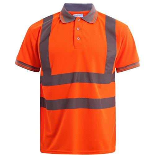 MyShoeStore Hochsichtbar Sichtbar Hohe Sichtbarkeit Poloshirt Reflektierendes Band Sicherheit Sicherheitsarbeit Taste T - Shirt Atmungsaktive Top Leichtgewicht Doppel Band Arbietskleidung Plus Große Mehrfarbig - Orange / Short Sleeve