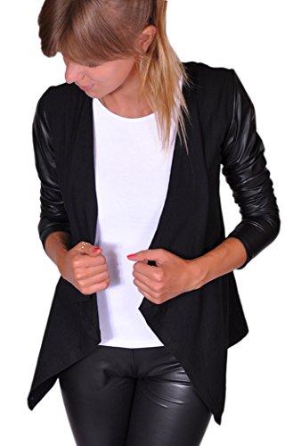 Damen Sexy Langarm Cardigan Trendy Mantel mit Lederärmel Sexy Kap Grau Schwarz S M L XL (L, Schwarz) (165) (Sexy Damen Leder Jacken)