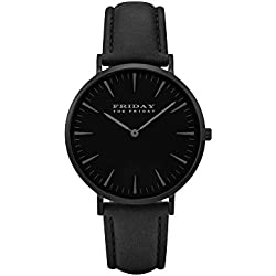 THE FRIDAY FIRDAY All Black WOMEN DRESS PARTY FASHION QUARTZ WATCH LEATHER STRAP Boy Gift