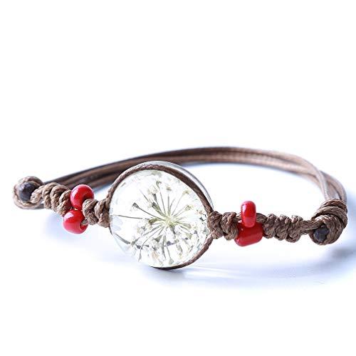 Jixing Women Handmade Woven Armband Ewige Getrocknete Blume Zeit Edelstein Armreif Schmuck Mithelfer Geschenke für Teenager Bräute Mädchen, weiß, ()