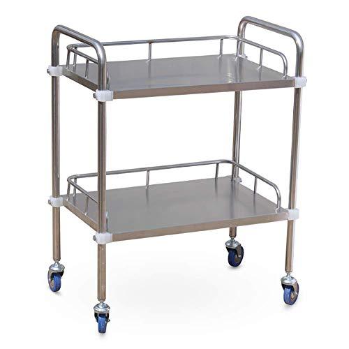 HTL Krankenhauswagen, medizinischer Bedarfsartikel Rack-Medical Cart Tool 2-stufiger mobiler medizinischer Wagen mit Universalrädern, Rollwagen aus Edelstahl für den Schönheitssalon für Hotels/Kran