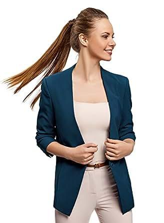 oodji Ultra Damen Taillierter Blazer mit 3/4-Arm, Blau, DE 32 / EU 34 / XXS