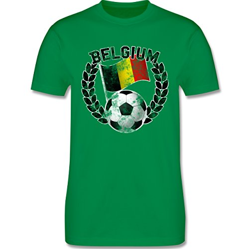 EM 2016 - Frankreich - Belgium Flagge & Fußball Vintage - Herren Premium T-Shirt Grün