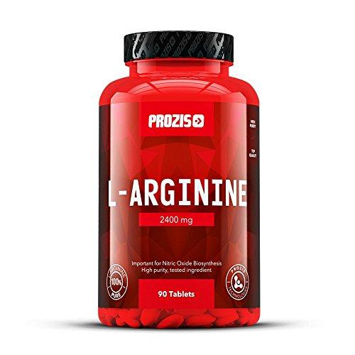 Prozis L-Arginine Integratore in compresse 2400mg - Potenziatore ossido nitrico - Supporta sintesi proteica, salute cardiovascolare, crescita muscolare e prestazione fisica - 90 capsule!