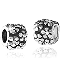 Materia{925} cuentas de plata entre element flores donhütte - Spacer Bead de plata con flores y European Beads Pulsera #79